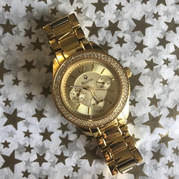 80c968bbc Bulova Accessories - Bulova Gold Plated Swarovski Crystal Women's Watch